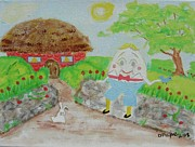 Nursery Rhyme Paintings - Humptys House by Diane Pape