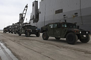 Harpers Ferry Photos - Humvees Depart Uss Harpers Ferry by Stocktrek Images