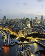 Bund Shanghai Photos - Hunagpu River And Pudong District By Night by Andrew Rowat