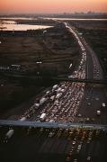 Cityscapes Art - Hundreds Of Cars Line Up To Pay A Toll by Melissa Farlow