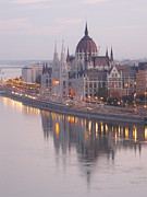 Road Travel Prints - Hungarian Parliament At Sunrise Print by Ilona Nagy