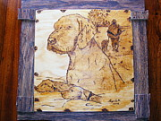 Log Cabin Art Pyrography - Hungarian vizsla-fine art phyrography on birch plaque by Egri George-Christian
