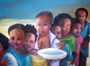 Black History Paintings - Hunger by Janie McGee