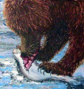 Salmon Painting Posters - Hungry Bear Poster by Tamara Taylor