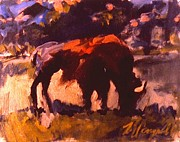 Dakota Paintings - Hungry Buffalo by Les Leffingwell