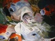 Koi Painting Posters - Hungry Koi Poster by Paul Gilbert Baswell