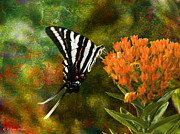 Butterfly Digital Art Posters - Hungry Little Butterfly Poster by J Larry Walker