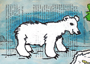 Mixed Media Drawings Prints - Hungry Polar Bear Print by Jera Sky