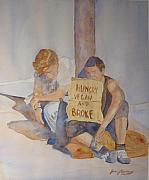 Homeless Painting Posters - Hungry Vegan and Broke Poster by Jenny Armitage