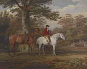 Saddle Paintings - Hunter and Huntsman by George Gerrard