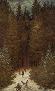 Wooded Paintings - Hunter in the Forest  by Caspar David Friedrich