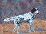 White Dogs Pastels Framed Prints - Hunter on Point Framed Print by Mary Benke