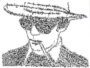 White Drawings Framed Prints - Hunter S. Thompson Black and White Word Portrait Framed Print by Smock Art