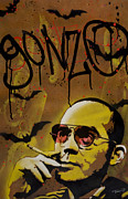 Aerosol Framed Prints - Hunter S. Thompson Framed Print by Iosua Tai Taeoalii