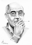 Famous People Drawings - Hunter S. Thompson by Murphy Elliott