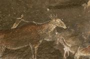 South Africa Prints - Hunters And Animals In A Cave Painting Print by Kenneth Garrett