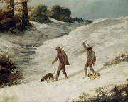 Dog Paintings - Hunters in the Snow or The Poachers by Gustave Courbet