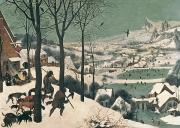 Snow Framed Prints - Hunters in the Snow Framed Print by Pieter the Elder Bruegel