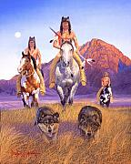 Wolves Painting Prints - Hunters Of The Full Moon Print by Howard Dubois