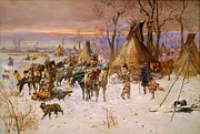 1900 (oil On Canvas) Paintings - Hunters Returning To Camp by Pg Reproductions
