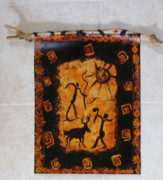 Cave Paintings - Hunters Wall Hanging by Shelley Bain