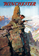 Rifles Posters - Hunting Big Horn Sheep Poster by Phillip R Goodwin