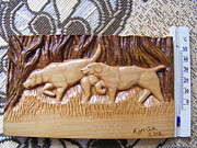 Cabin Wall Pyrography Prints - Hunting dogs-wood carving relief and pyrography Print by Egri George-Christian