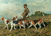 Hunting Dogs Posters - Hunting Exercise Poster by John Emms
