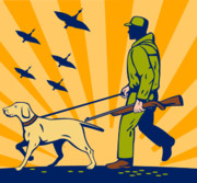 Flying Bird Posters - Hunting Gun Dog Poster by Aloysius Patrimonio