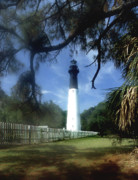 White Lighthouse Prints - Hunting Island Lighthouse Sc Print by Skip Willits