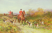 Hounds Painting Framed Prints - Hunting Scene Framed Print by Heywood Hardy