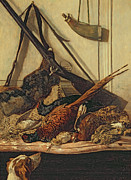 Pheasant Paintings - Hunting Trophies by Claude Monet