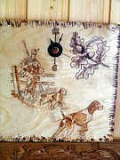 Cabin Wall Pyrography - Hunting with dogs-wood pyrography by Egri George-Christian