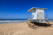 Pacific Ocean Acrylic Prints - Huntington Beach Lifeguard Tower Photo Acrylic Print by Paul Velgos
