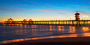 Surf City Posters - Huntington Beach Pier - Twilight Poster by Jim Carrell