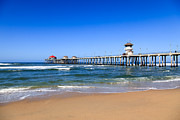 Summer Travel Framed Prints - Huntington Beach Pier in Orange County California Framed Print by Paul Velgos