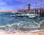Piers Painting Framed Prints - Huntington Beach Pier Framed Print by Jamie Frier