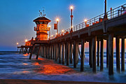 Surf Silhouette Framed Prints - Huntington Beach Pier Framed Print by Mariola Bitner