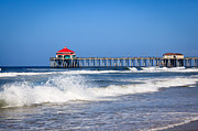 Summer Travel Framed Prints - Huntington Beach Pier Photo Framed Print by Paul Velgos
