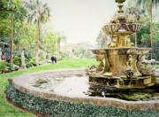 Most Viewed Painting Posters - Huntington Fountain Morning Mist Poster by David Lloyd Glover