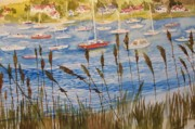 Harbor Drawings Originals - Huntington Harbor by Siona Koubek