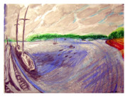 Sailboats Drawings - Huntington Town Pier by Don Schaeffer