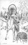 Western Pencil Drawings Posters - Hunts with Wolf Poster by Derek Hayes