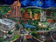 Downtown Painting Metal Prints - Huntsville Skyline Metal Print by Carole Foret
