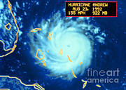 1992 Framed Prints - Hurricane Andrew, Maximum Intensity Framed Print by Science Source