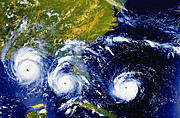 Meteorology Posters - Hurricane Andrew Time Lapse Poster by Stocktrek Images