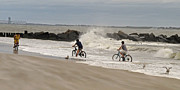 York Beach Originals - Hurricane Irene Bikers by Randy Mendelsohn