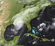 Satellite View Posters - Hurricane Katrina Poster by Stocktrek Images