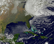 Satellite View Posters - Hurricane Sandy Battering The United Poster by Stocktrek Images