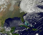 Hurricane Sandy Battering The United Print by Stocktrek Images